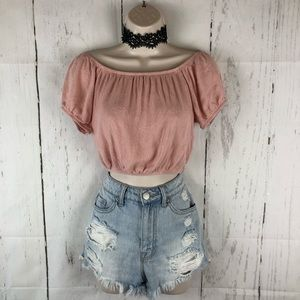 Pink embroidered boho crop top